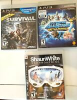 PS3 Game LOT, cabela's survival Shaun White Snowboarding, playstation all stars