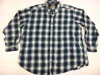 Foundry Blue White Plaid Flannel Shirt - Men's Size 3XLT