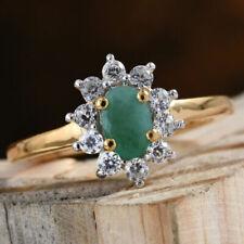 AA Brazilian Emerald & AAA White Sapphire 925 Sterling Silver Ring.