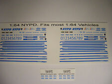 NYPD Police 1/64 Water slide Decal Set Fits 1/64 scale Vehicles
