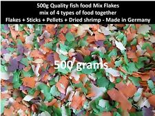 500g Mix Flakes 4 types food fish together Flakes +Sticks +Pellets +Dried shrimp