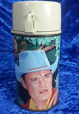 Chuck Connors Cowboy In Africa Metal Thermos for Lunchbox Not Rifleman EXCELLENT