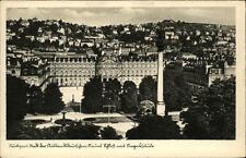 Stuttgart alte Postkarte Blick auf das neue Schloß und Stadt mit Siegessäule