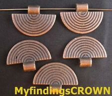 30pcs Antiqued Copper Semicircle Charm Beads Findings Fc512