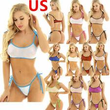US Womens Swimwear Mesh See Through Bathing Suit Micro Bra G-string Bikini 2Pcs