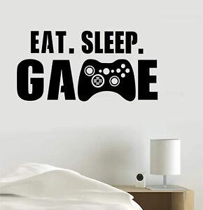 Eat Sleep Game joystick Gaming Vinyl Decal Sticker Wall Home Room Decoration