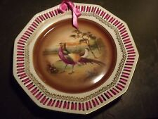 Bavarian German Golden Pheasant Plate, reticulated edge and woven ribbon decor