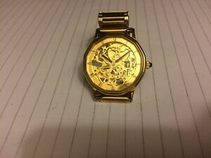 ROTARY VINTAGE 17J SKELETON MANUAL WIND-GOLD PLATED-NEAR MINT-IN F.W.O-ACCURATE
