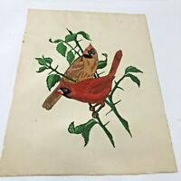 "Vintage Fabric Painting  of Colorful Cardinals Birds - 18"" x 14"""