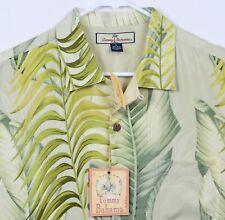 Tommy Bahama Men's Sz Medium 100% Silk Floral Palm Windward Camp Hawaiian Shirt