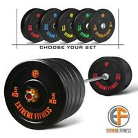 EXTREME FITNESS® Hi-Temp RUBBER BUMPER WEIGHT PLATES COLOURED GYM CROSSFIT 2""