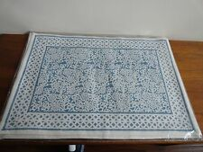 New Pomegranate Inc. Lucy Steel Blue Placemat Set of 4 Hand Blocked India Cotton
