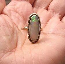Antique 14K Rose Pink Gold Crystal Opal Ring