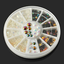 Multicolor illusion AB Rhinestone Glitter 3D Nail Art Decoration Charms 3 Sizes