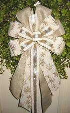 Handmade Cream Snowflake Bow Wired Ribbon Wreath Lantern Garland Mail Post # 35
