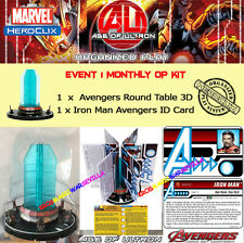 HEROCLIX AGE OF ULTRON EVENT 1 OP KIT Avengers Round Table 3D + Iron Man ID Card