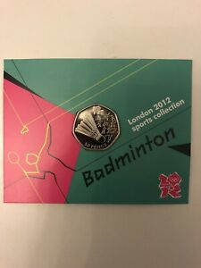 London 2012 Olympic Badminton 2011 50p Fifty Pence BU Coin Official Sealed Card