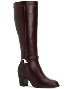 Giani Bernini Womens Rozario Leather Almond Toe Knee High, oxblood, Size 12.0