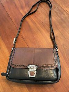 Brighton Black/Brown Leather Organizer Crossbody Handbag in Excellent Condition