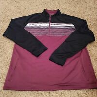 EUC Black Clover Eastwood Black Wine White Quarter Zip Golf Pullover Size 2XL
