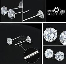 Silver 925 Sterling Crystal Stud Earrings 5mm Butterfly Back Free Gift Bag