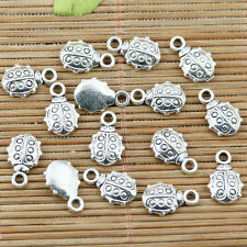 30pcs tibetan silver plated spot ladybug design charms EF2349