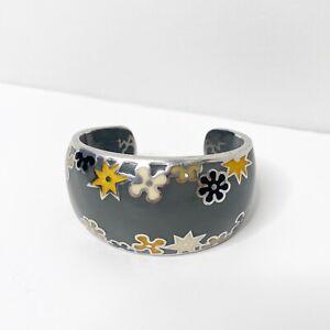 Alan K Designo Floral Enamel Cuff Bracelet 925 Sterling Silver