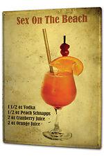 Tin Sign XXL Alcohol Retro Cocktail Recipe Sex on the Beach Kitchen