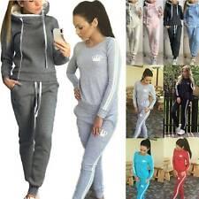 Womens Ladies Outdoor Casual Hooded Sweatshirts Pants Tracksuit Set Lounge Wear