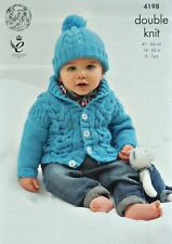 KNITTING PATTERN Baby Long Sleeve Roll Collar Cardigan &Bobble Hat DK KC 4198