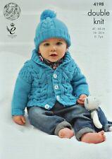 KNITTING PATTERN Baby Long Sleeve Roll Collar Cardigan &Bobble Hat DK KC 4198