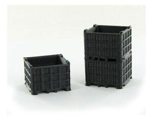 1:64 Black Pallet Bin 3 pack 3D to Scale Diorama Display Farm