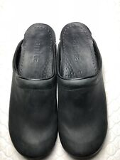 Sanita Women's Black Leather Mules Clogs Slides Size-40