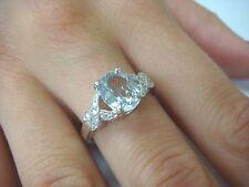 NICE OVAL AQUAMARINE AND DIAMONDS LADIES BEAUTIFUL RING 14K WHITE GOLD
