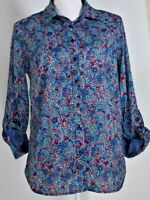 Talbots women's blouse size medium top shirt print roll tab sleeves work casual
