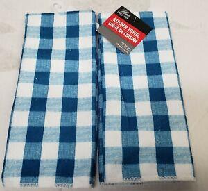 "2 SAME MICROFIBER TOWELS (15"" x 25"") BLUE & WHITE CHECKERS, GR"