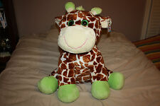 New Jumbo Plush Giraffe Stuffed Animal Lime Green accent sparkle eyes Large