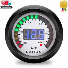 Digital 52mm Auto Air Fuel Ratio Gauge + Voltmeter volt Meter Indicator Smoked