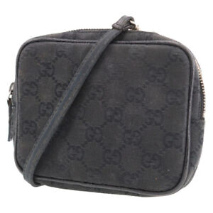 GUCCI Original GG Shoulder Pouch Bag Black Canvas Vintage Authentic #XX882 Y