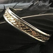 Filled Child Kids Tahe Cuff Bracelet Vintage Estate Sterling Silver & 12K Gold