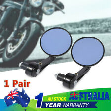 """7/8"""" Round Motorbike Rear View Handle Bar End Rearview Side Mirrors Chrome Glass"""
