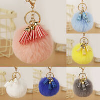 Key Ring Soft Pendant Keychain Women Ball Car Tassel PomPom Decorative