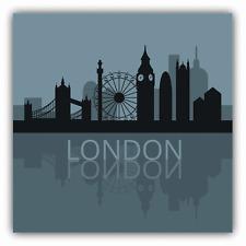 "London City Silhouette Mirror Car Bumper Sticker Decal 5"" x 5"""