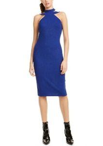 bebe Womens Halter Sparkle Crepe Cobalt Blue Size 3 /4 Sheath Dress $69 272