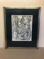 Original Etching By Mitchell Siporin Simchat Torah Signed 6/75 Framed Jewish Art