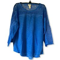 Chicos Womens Blouse Blue Space Dye Long Sleeve Scoop Neck Lace Cotton Blend L