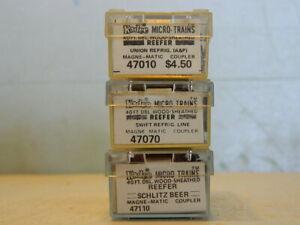 "SET OF 3 VINTAGE KADEE MICRO-TRAINS 40' DBL WOOD SHEATHED ""BILL BOARD"" REEFERS"