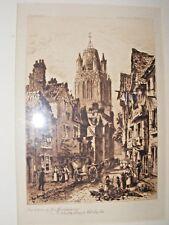 Antique Gravure à L'Eau-Forte de Redcliff, Bristol Gel Reed Presentaion Plaque