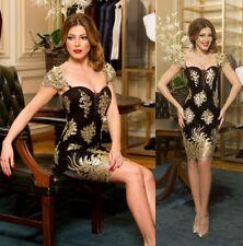 Abito ricamato Merletto Scollo nudo Cerimonia Party Lace Embroidered Dress S