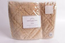 Nwt Pottery Barn Washed velvet standard quilted sham camel tan neutral